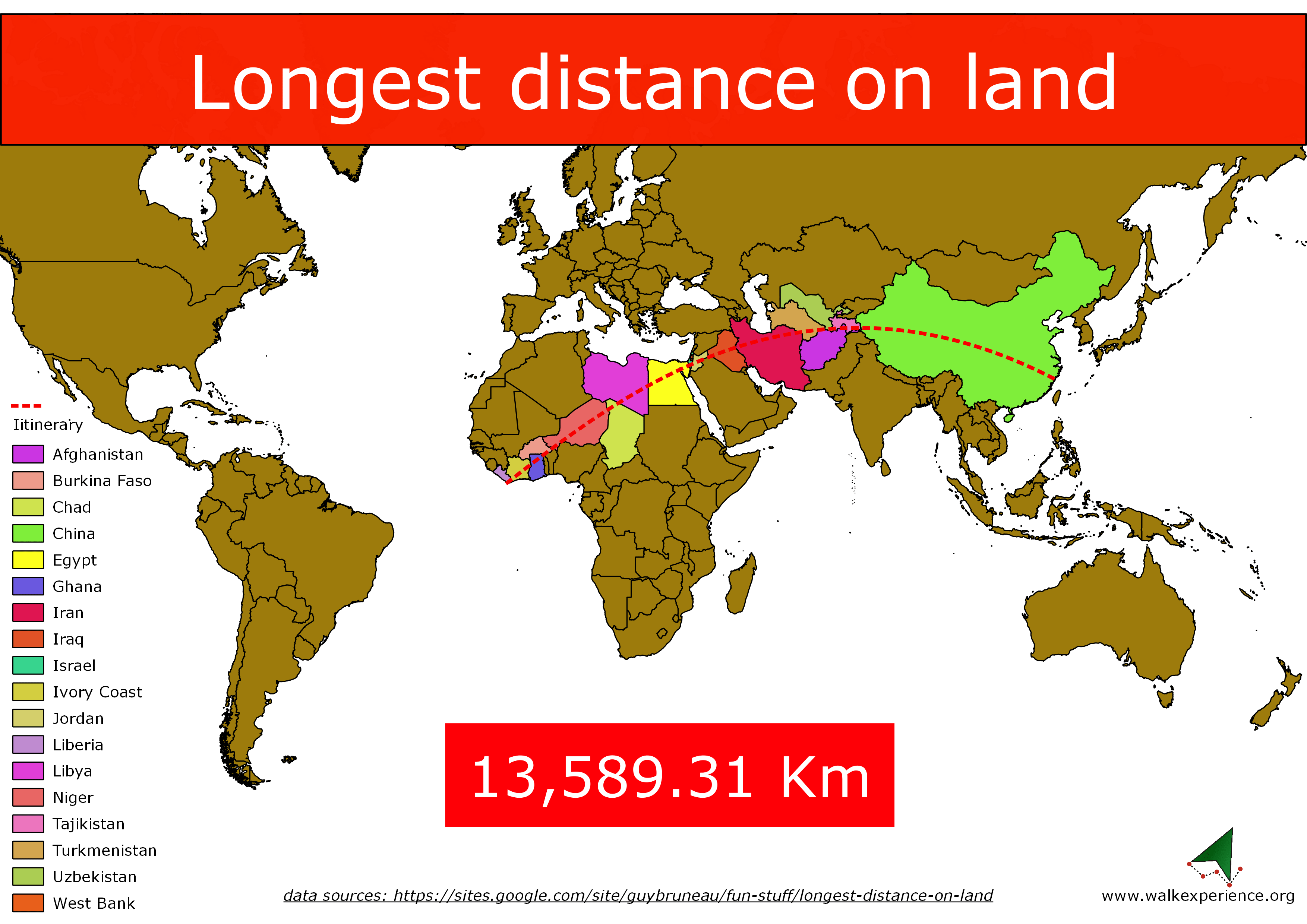 Map of the longes distance on the Earth