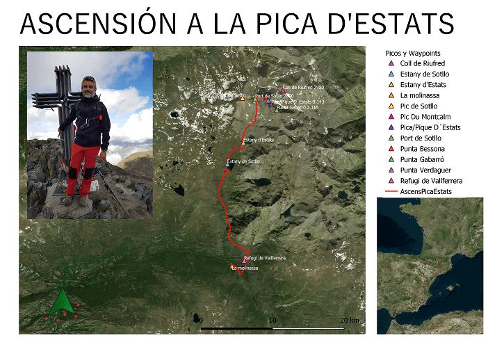 Mapa Ascensión a la Pica d'Estats