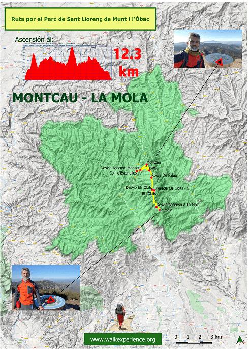 Mapa ruta del Montcau a La Mola